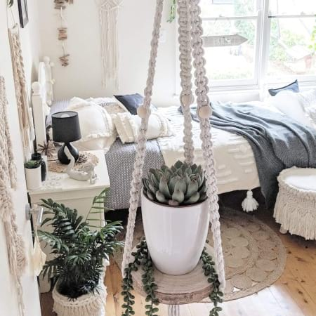 Large Macrame Hanging Shelf With Succulent And Pot