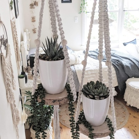 Macrame Hanging Shelf With Succulent and Pot