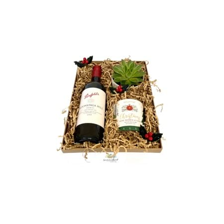 Succulent Surprise Wine & Candle Christmas Gift Pack