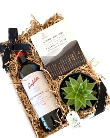 Succulent Surprise Red Wine & Candle Gift Box