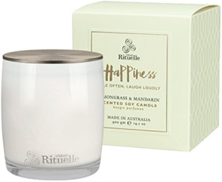 HAPPINESS Lemongrass & Mandarin Scented Soy Candle by Urban Rituelle