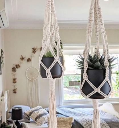 Medium Macrame Plant Hanger Including Succulent And Pot