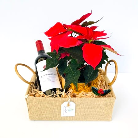 Red Poinsettia and Wine Pack