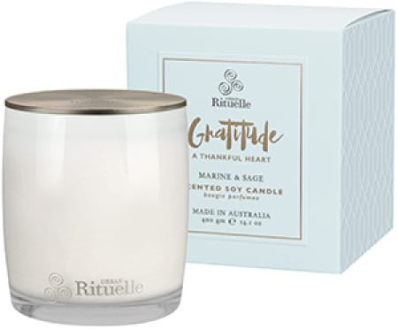 GRATITUDE Marine & Sage Scented Soy Candle By Urban Rituelle