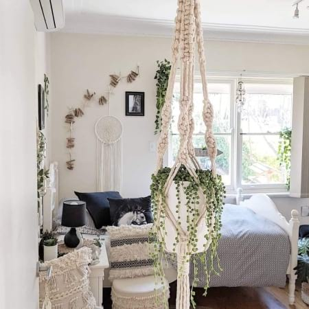 Macrame Plant Hanger With String of Pearls Succulent Plant In Ceramic/Metalic Pot