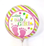 Welcome Baby Girl Helium Balloon